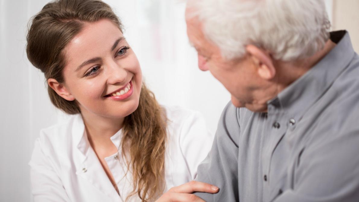 Caregiver holding arm
