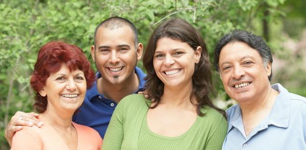 happy latino family