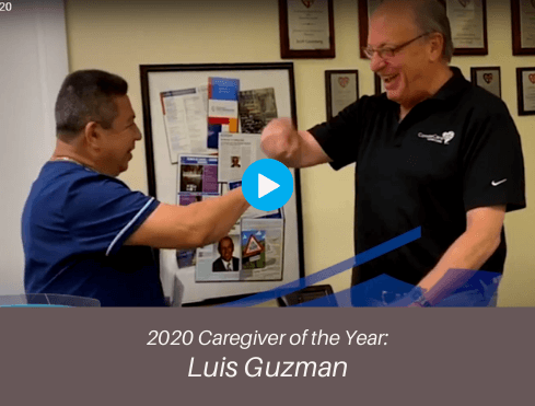 Caregiver of the Year for 2020 Luis Guzman accepts award from Scott Greenberg